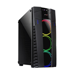 CASE GAMING ATX PER PC CTESPORTS VELA USB 3.0 NERO PENNELLO LATERALE IN VETRO CON VENTOLE ANTERIORI INCLUSE